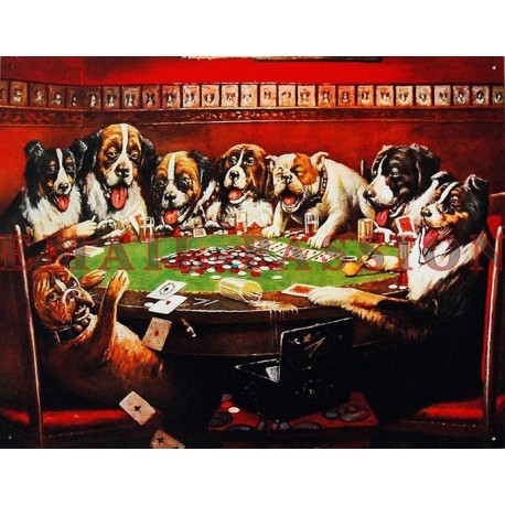 Plaque métal publicitaire 30x40 cm:  Les Chiens partie de poker.