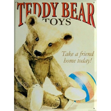 Plaque métal publicitaire 30x40cm plate :  Teddy Bear Ourson