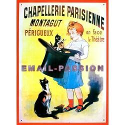 Plaque métal publicitaire 26x35cm plate : Chapellerie Parisienne.
