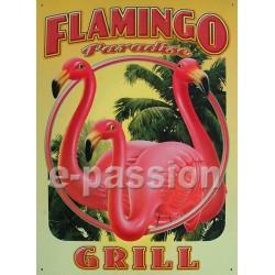 Plaque métal publicitaire 30x40cm plate : Flamingo Paradise Grill.