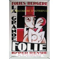 Folies Bergère plaque publicitaire 20x30cm bombée en relief