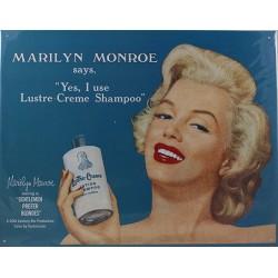 Plaque métal publicitaire 30x40 cm plate : Marilyne Monroe Shampoo.