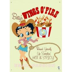 Plaque métal publicitaire 30x40cm plate : Betty Boop cowgirl.