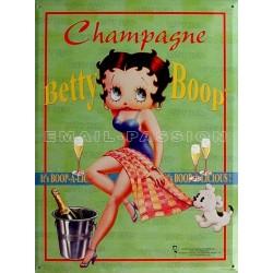 Plaque métal publicitaire 30x40cm plate : Betty Boop Champagne.
