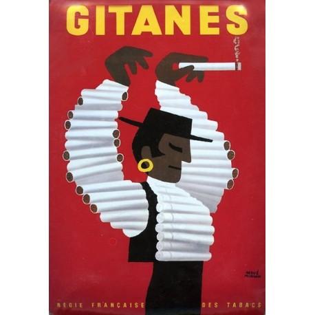 Plaque métal publicitaire 15x21cm bombée  : Cigarettes Gitanes.
