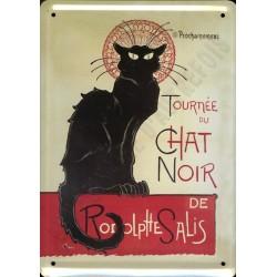 Plaque métal  publicitaire 15x21cm Bombée : Tournée du Chat Noir.