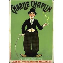 Plaque métal  publicitaire 15x21cm bombée :  Charlie Chaplin.