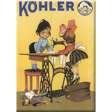 Plaque métal publicitaire 15x21cm bombée : Köhler, Machines à coudre.