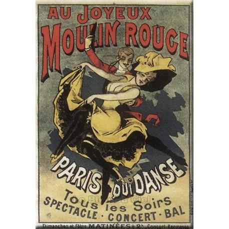 Plaque métal publicitaire 15x21cm,bombée  : Au joyeux Moulin Rouge.