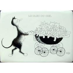 Plaque métal publicitaire 15x.21cm plate les Chats par Dubout : Famille nombreuse.