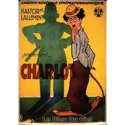 Plaque métal publicitaire 15x21cm, bombée : Charlie Chaplin policeman.