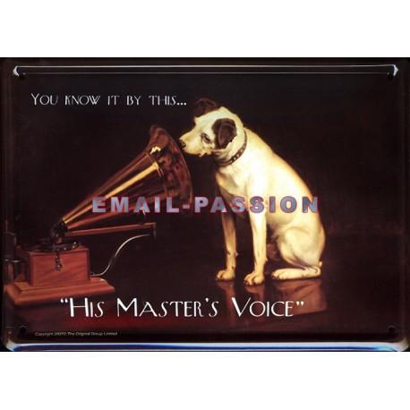 Plaque métal publicitaire 15x21cm bombée : La Voix de son Maitre.