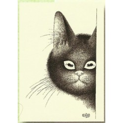 Plaque métal publicitaire 15x21cm plate :  les Chats par Dubout.
