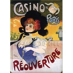 Plaque métal publicitaire 15x21cm plate : Casino de Paris.