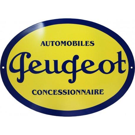 plaque émaillée : PEUGEOT CONCESSIONNAIRE AUTOMOBILES.