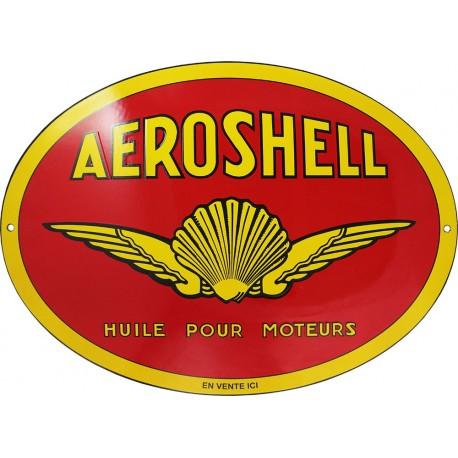 Plaque  émaillée  : HUILES  AEROSHELL
