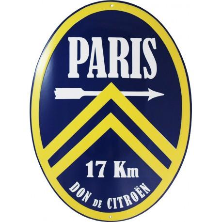 Plaque émaillée ovale 29 x 40 cm : CITROËN PARIS