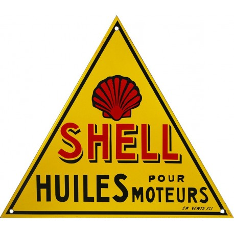 Plaque émaillée,  triangle huiles pour moteur Shell de 30 x 35 cm