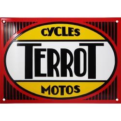 Plaque émaillée bombée TERROT cycles motos.