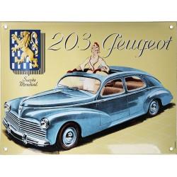 Plaque émaillée : PEUGEOT 203.