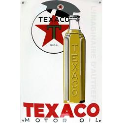 Plaque  émaillée bombée TEXACO MOTOR OIL