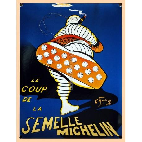 Plaque  émaillée bombée : BIBENDUM MICHELIN SEMELLE