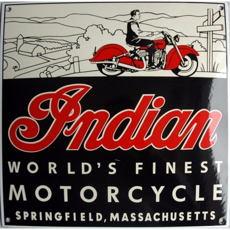 plaque émaillée :  INDIAN MOTORCYCLE