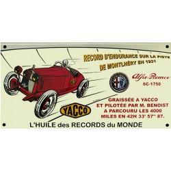 Plaque émaillée : YACCO ALFA ROMÉO  6C 1750