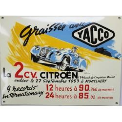 Plaque émaillée : HUILE YACCO 2CV CITROËN.
