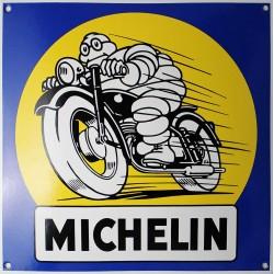 Plaque émaillée : MICHELIN PNEUS MOTO.