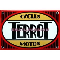 Plaque émaillée : TERROT  CYCLES MOTOS