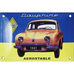 Plaque émaillée  bombée :  Renault Dauphine