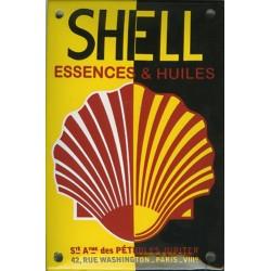 Plaque  émaillée : SHELL ESSENCES ET HUILES