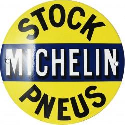 plaque émaillée bombée 15cm Stock Michelin.