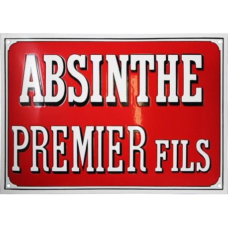 Plaque émaillée faite au pochoir :  ABSINTHE PREMIER FILS.