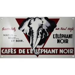 Plaque émaillée café : ÉLEPHANT NOIR