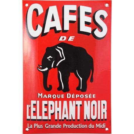 Plaque émaillée  : CAFÉ DE L'ÉLÉPHANT NOIR