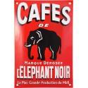 Plaque émaillée : CAFÉ DE L'ÉLÉPHANT NOIR.