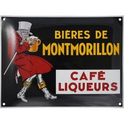 Plaque émaillée : BIÈRE DE MONTMORILLON