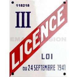 Plaque émaillée professionnelle Licence III - 15x20cm (hotel, restauration, bar) ou date de naissance, cadeaux entre amis.