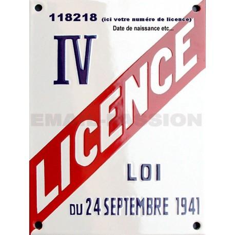 Plaque émaillée professionnelle Licence IV - 15x20 cm (hotel, retauration, bar)  ou date de naissance.