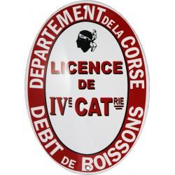 Plaque émaillée Licence IV CORSE (décoration, sans repiquage de numéro de licence)