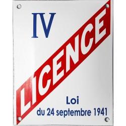 Plaque  LICENCE IV Bombée 15x20cm (décoration, sans repiquage de numéro)