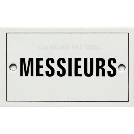 Pour votre décoration : Plaque de service émaillée plate de 6x10 cm MESSIEURS
