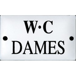 Pour votre décoration cette plaque de service émaillée bombée de 6x10cm WC DAME