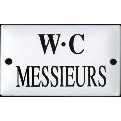 Pour votre décoration cette plaque de service émaillée bombée de 6x10cm WC MESSIEUR
