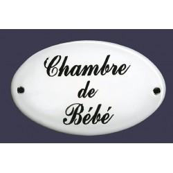 Plaque de service émaillée bombée de 9 x 5,5 cm : CHAMBRE DE BÉBÉ.