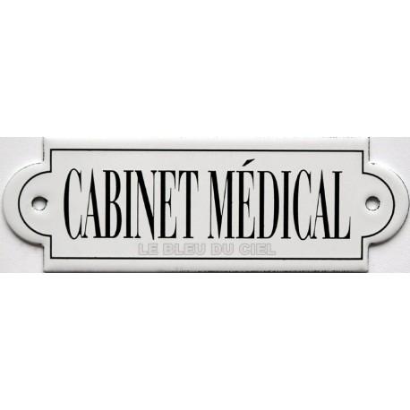 plaque de rue émaillée plate à oreille  de 15 x 5 cm : CABINET MÉDICAL