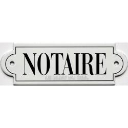 Pour votre décoration : Plaque de service émaillée à oreille, plate de 15x5cm NOTAIRE