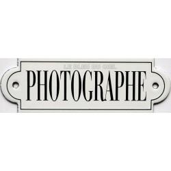Plaque de service émaillée à oreille, plate de 15x5cm PHOTOGRAPHE